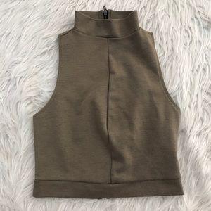 Zara Brown Sleeveless Crop Top